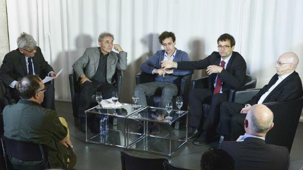 Im Gespräch: Markus Mugglin, Peter Niggli, David Roth, Rudolf Minsch, Heinz Zimmermann.