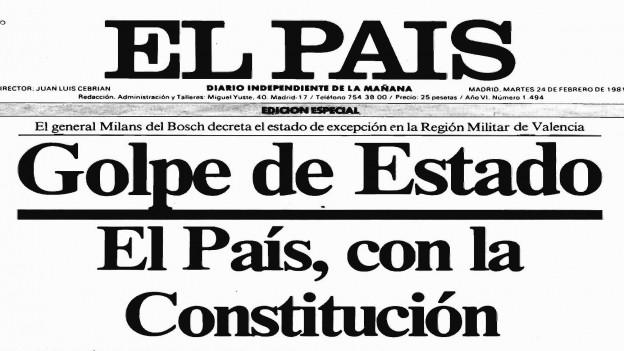 Das Titelblatt von El Pais nach dem Putschversuch in Spanien.