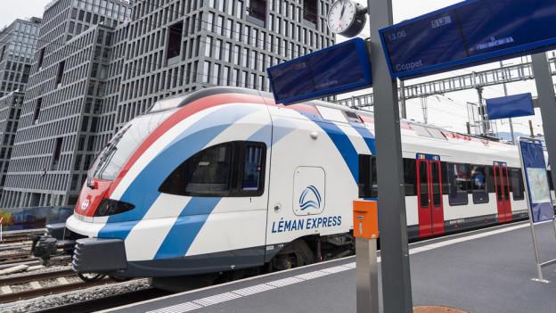 Das Bild zeigt den Léman Express, die neue Zugverbindung zwischen Genf und dem angrenzenden Frankreich.