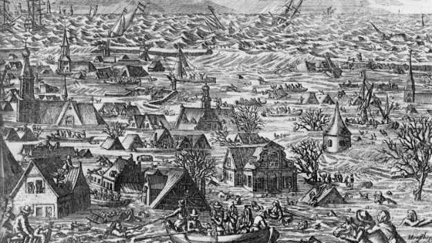 Kupferstich von der Burchardi-Flut.