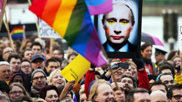 Eine Demonstration gegen den russischen Präsidenten Putin in Amsterdam im April.