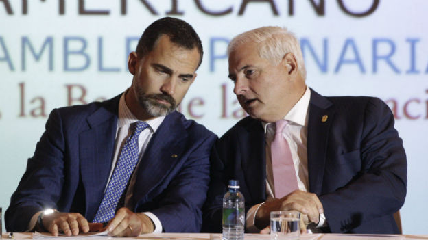 Spaniens Kronprinz Felipe (links) und Panamas Präsident Ricardo Martinelli.