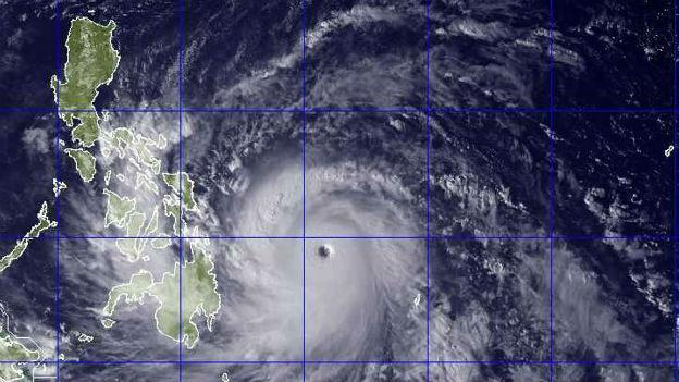 """Der Taifun """"Haiyan"""" ist über die Philippinen hereingebrochen."""