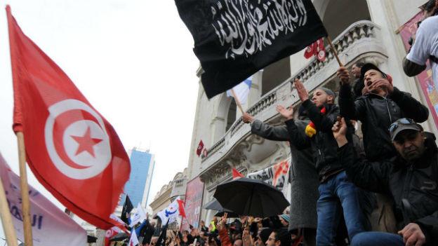 Demonstrationen in der tunesischen Hauptstadt Tunis.