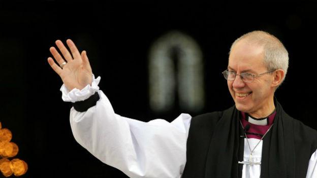 Der 105. Erzbischof von Canterbury Justin Welby vor der St. Pauls Cathedral nach seiner Wahl am 4. Februar 2013