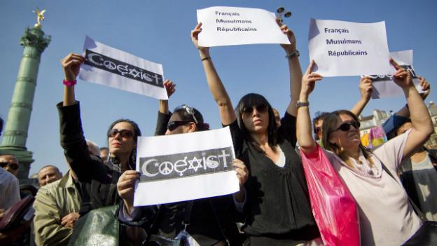 Für ein friedliches Miteinander: Demonstranten nach dem Attentat in Toulouse im März 2012.