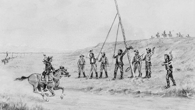 Ein Reiter des historischen Pony-Express