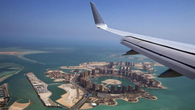Landeanflug auf Katars Hauptstadt Doha.