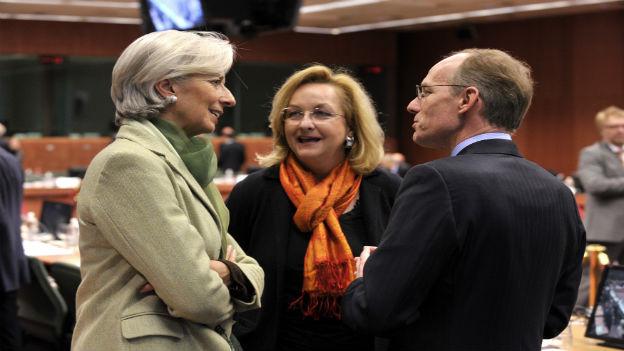 Finanzministerin Fekter (mit IWF-Chefin Lagarde, links, und Luxemburgs Finanzminister Frieden)