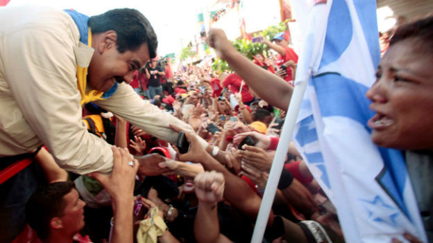 Chavez' Kronprinz Nicolas Maduro im Wahlkampf.