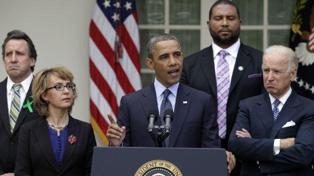 Betretene Gesichter: Obama gibt das Scheitern des Kompromissvorschlags bekannt.