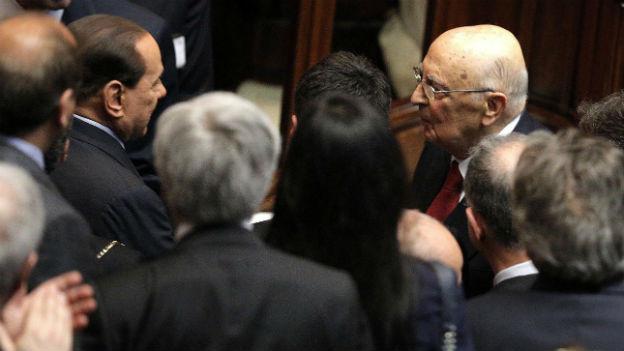 Giorgio Napolitano (rechts) verhandelt eine Grosse Koalition.