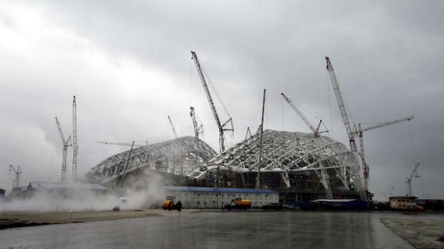 Bauarbeiten am Olympischen Park in Sotschi.