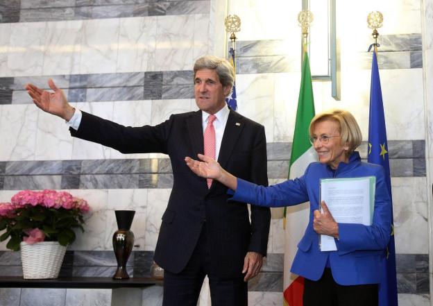 Syrien-Diplomatie: US-Aussenminister Kerry (mit Italiens Aussenministerin Bonino)