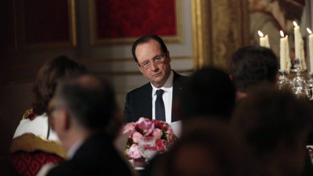 Der Blick hinter die Kulissen: François Hollande beim Diner im Elysée-Palast.