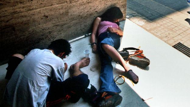 Drogenabhängige in Athen.