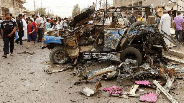 Blutiger Mai in Bagdad: Im Bild ein Bombenanschlag vom 20. Mai.