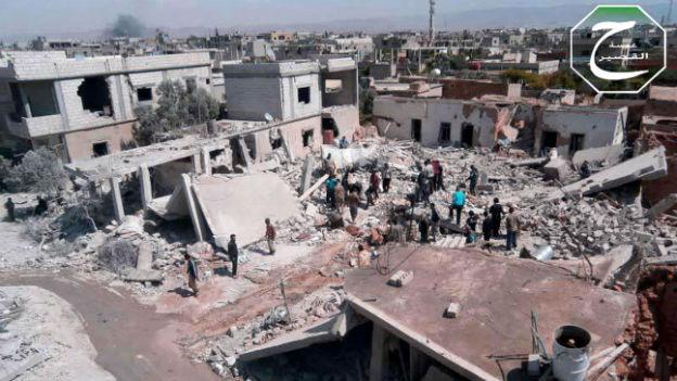 Die Stadt Kusair war während Wochen heftig umkämpft (Aufnahme vom 21. Mai).