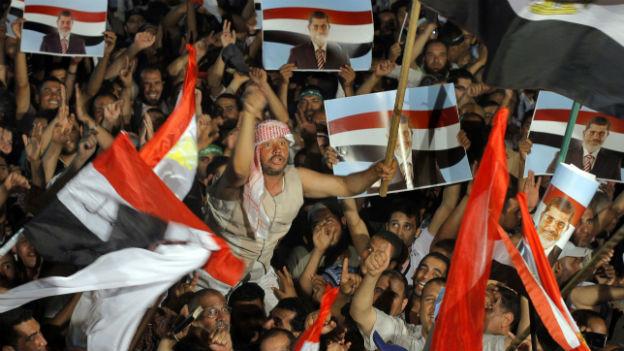 Anhänger von Präsident Mursi an einer Veranstaltung in Kairo am 1. Juli