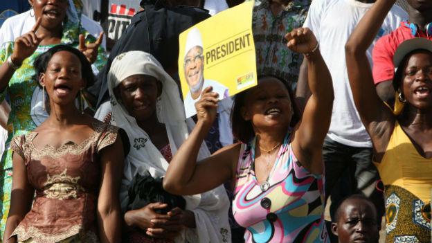 Anhängerinnen des Kandidaten Ibrahim Keita an einer Wahlveranstaltung.
