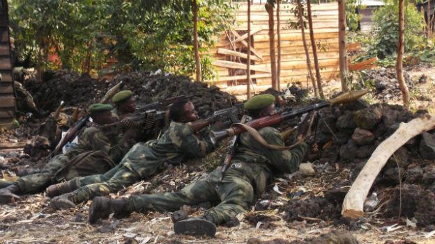 Kongolesische Regierungstruppen in der Nähe von Goma am 16. Juli 2013.