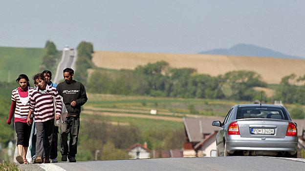 Roma, unterwegs auf einer Landstrasse bei Svinia, in Slowakien.