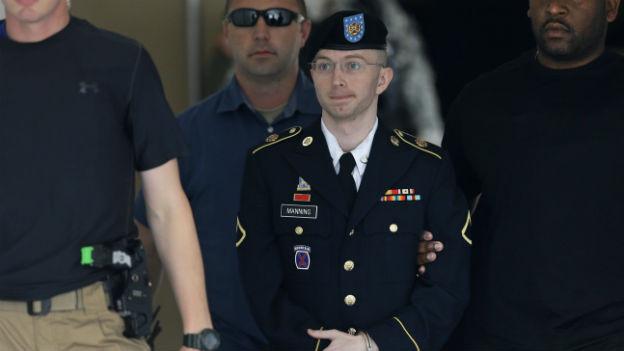 Bradley Manning vor dem Gericht im amerikanischen Fort Meade.