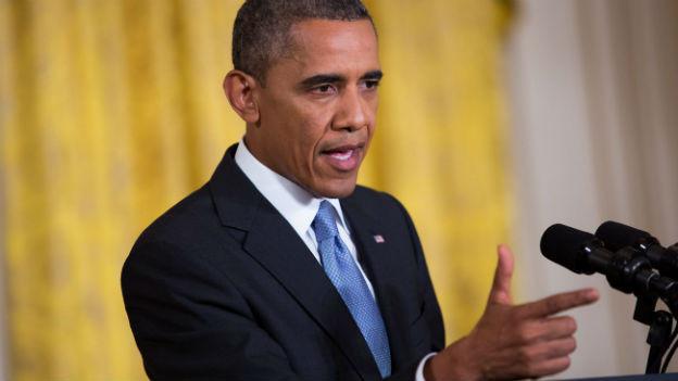Präsident Barack Obama vor den Medien.