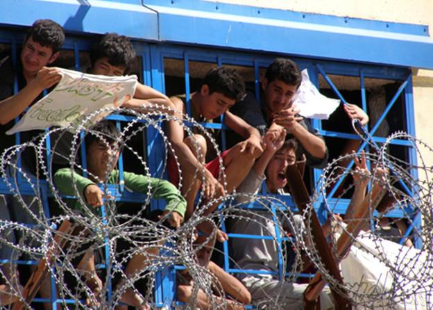 Flüchtlingsaufstand in Griechenland.