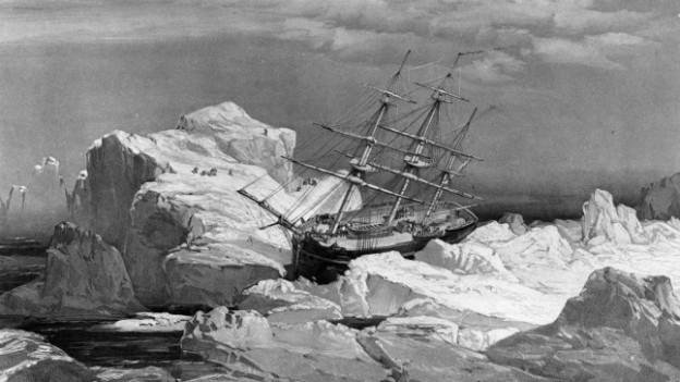 Illustration der HMS Investigator, die auf der Suche nach der Franklin-Expedition 1853 scheiterte.