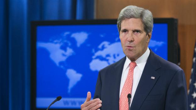 US-Aussenminister John Kerry bei seiner Rede im State Departement.