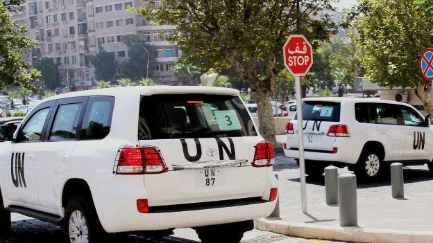 UNO-Inspektoren untersuchen weiterhin den angeblichen Giftgas-Angriff bei Damaskus.