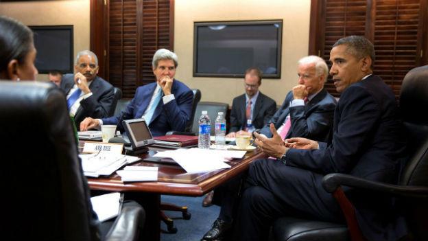 US-Präsident Obama mit seinem Team am Freitag im Weissen Haus