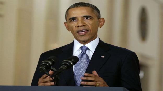 Barack Obama während der Rede.