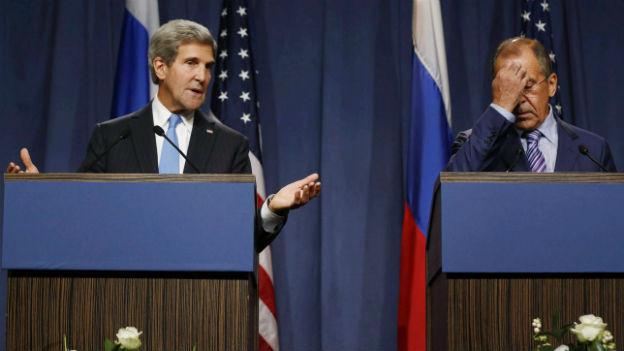Die Aussenminister Kerry (links) und Lavrov während einer Pressekonferenz in Genf.