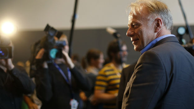 Jürgen Trittin nach Bekanntgabe seines Rücktritts.