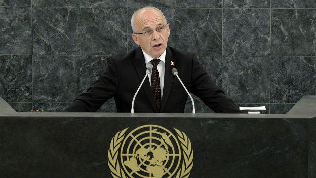 Bundespräsident Ueli Maurer bei seinem Auftritt vor der UNO-Generalversammlung am 24. September 2013.