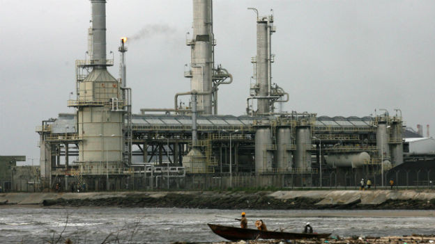Öl-Raffinerie in Nigeria.
