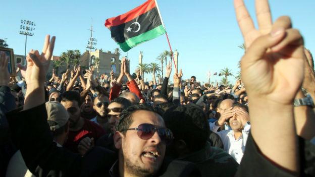 Gedenkfeier für getötete Demonstranten in der Libyschen Hauptstadt Tripolis.