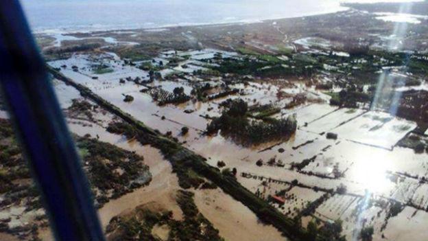 Luftaufnahme der Sturmschäden auf Sardinien.