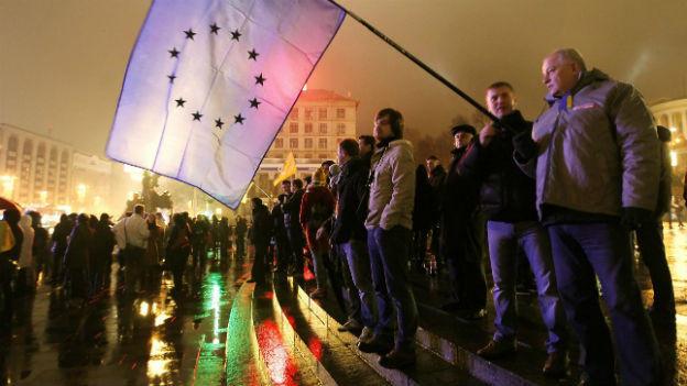 Annäherung an Europa vom Tisch: Protest in Kiew