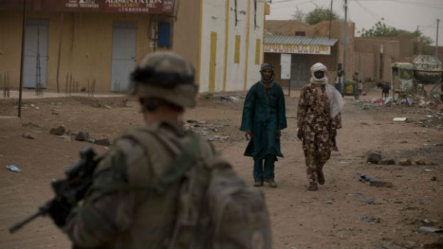 Französischer Soldat in der Stadt Kidal, Nordmali.