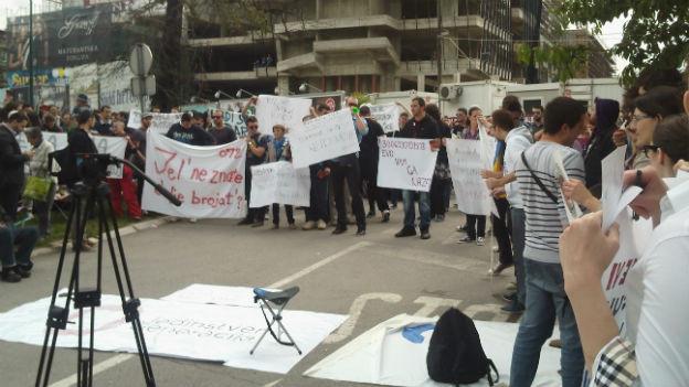 Protestveranstaltung in Sarajewo anfang Juni 2013