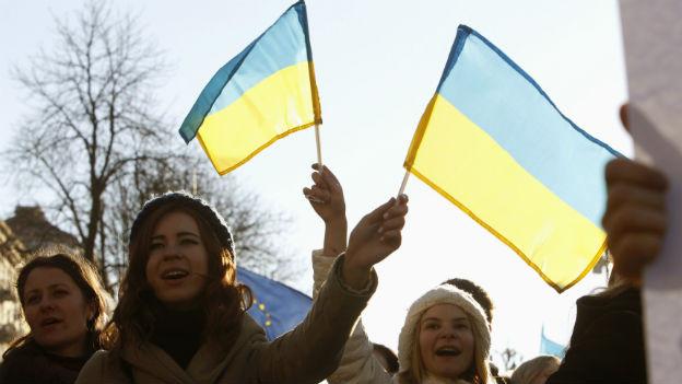 Ukrainische Studentinnen demonstrieren in Kiew für eine Annäherung an die EU.