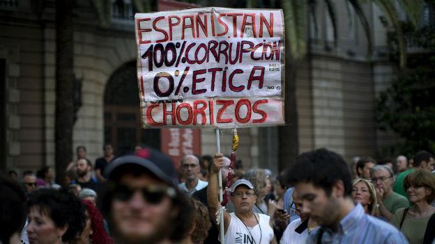 Demonstration gegen Korruption in Barcelona.