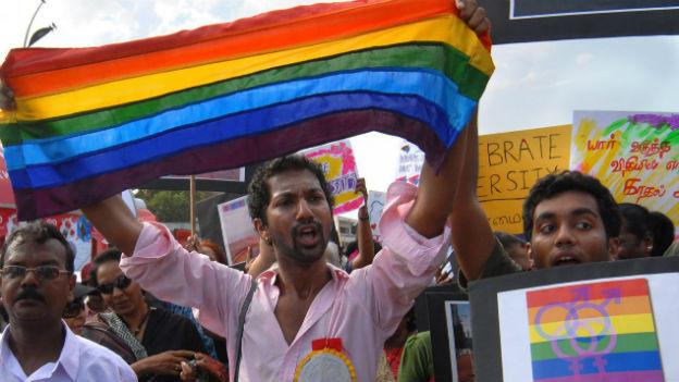 Indische Schwule und Lesben hier bei einer Gay-Parade.
