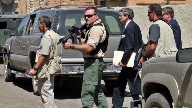 Private Sicherheitsleute im Einsatz