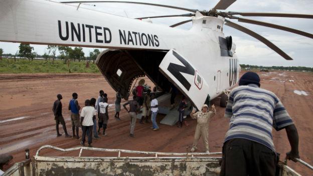 Ein Transport des World Food Programms mit Nahrungsmitteln für den Südsudan.