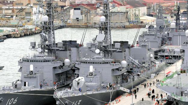 Japanische Kriegsflotte im Kampf gegen Piraterie.