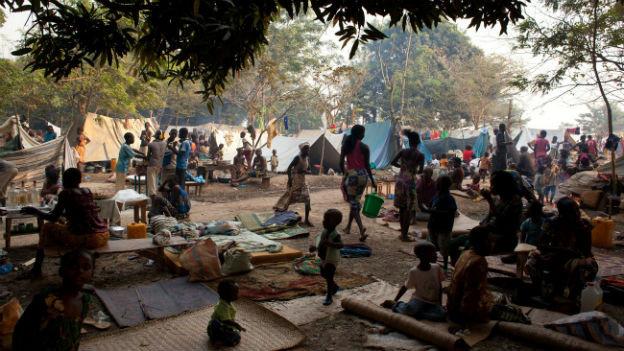 Behelfsmässiger Flüchtlingscamp in der Zentralafrikanischen Republik-